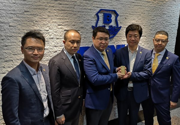 Group photo at Hong Kong Brink's, the world's biggest cash and valuables management company. From left to right: Channing Au (co-founder),Ouyang Yun (CEO),Wayne Zhou (chairman),Jin Seung Jin (co-founder),Alan Jin (vice-chairman).