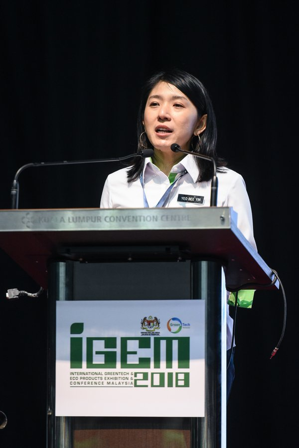 Minister of Energy, Science, Technology, Environment & Climate Change, Malaysia, Yeo Bee Yin at IGEM 2018