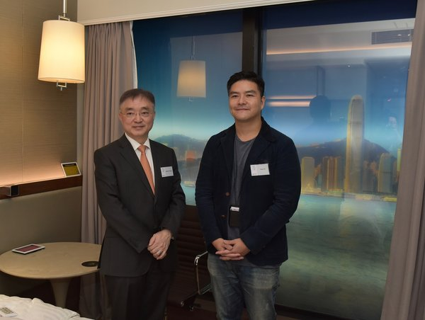 Mr Andrew Young, Associate Director (Innovation), Sino Group (left) and Mr Toby So, Founder and CEO of local startup Film Players at the opening ceremony of Sino Inno Lab.