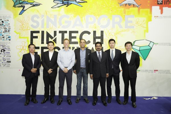 From left to right - Poh Teck Tan EVP GTR Ventures, John Khaw CEO Lucidity Digital Pte Ltd, Rupert Sayer CEO GTR Ventures, Sopnendu Mohanty Chief Fintech Officer Monetary Authority of Singapore,Fazley Azhar Director of iLoan Sri Lanka, Ningwa Lau Co-Founder iLoan Sri Lanka, Kelvin Tan CIO GTR Ventures