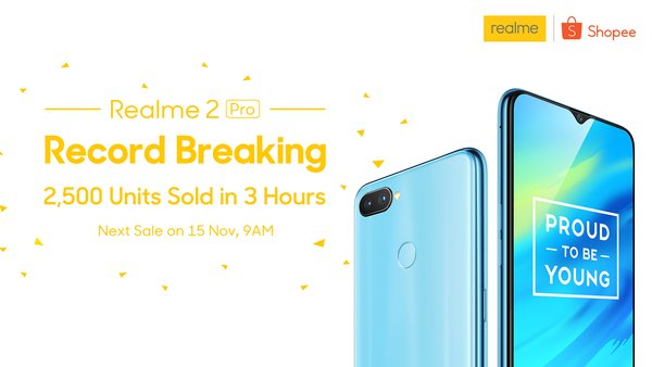 2500 units Realme 2 Pro sold in 3 hours