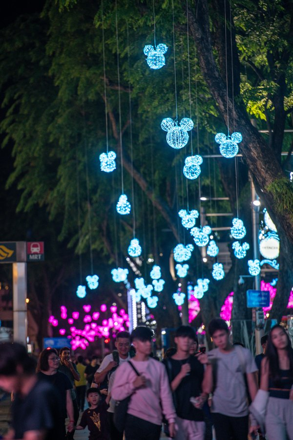 Disney Magical Moments, street lights displayed in Singapore Orchard Road
