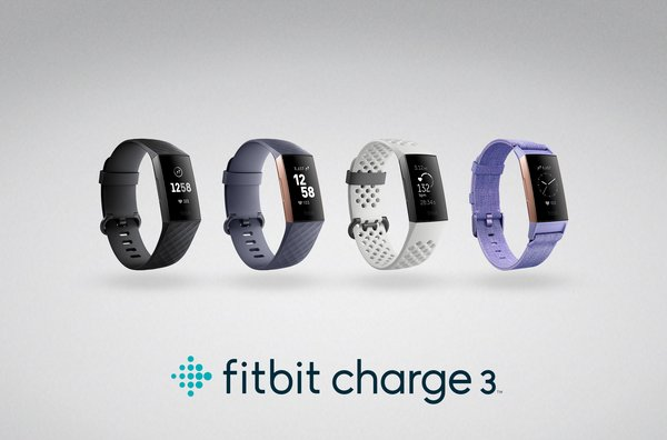 Fitbit Charge 3 from left to right Black/Graphite Aluminum (HK$1,298), Blue Gray/Rose Gold Aluminum (HK$1,298), Frost White Sport Band/Graphite Aluminum (HK$1,498), Lavender Woven Band/Rose Gold Aluminum (HK$1,498)