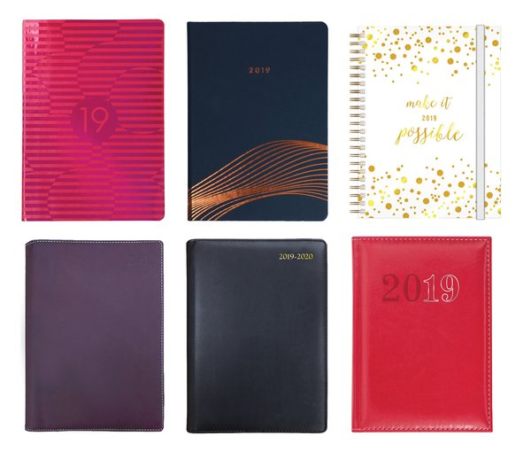 Collins Debden 2019 Diary Collection (clockwise from top left: Brilliance, Vanguard, Lifestyle, Chelsea, Elite Executive Diary, Associate II)