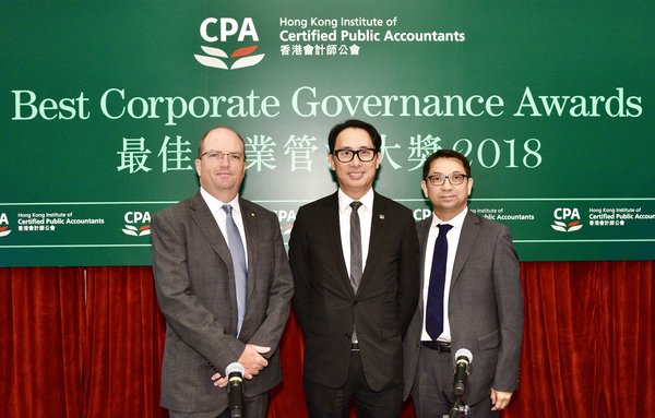 "Mr. Eric Tong (centre), President of HKICPA and Chairman of the Judging Panel said, ""It is important to stress that effective corporate governance requires more than just making good disclosures. The judges take note of a company's overall performance, including evidence of how corporate governance is being implemented in practice."""