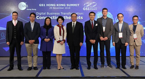 (From left to right) Mr. Peter Shiu, Legislative Councilor, Mr. Charles Mok, JP, Legislative Councilor, Ms. Elizabeth Quat, BBS, JP, Legislative Councilor, Ms Anna Lin, JP, Chief Executive, GS1 Hong Kong, Mr. Nicholas Yang, GBS, JP, Secretary for Innovation and Technology, Mr Joseph Phi, Chairman, GS1 Hong Kong, Mr Jason Archer, Managing Director, Asia Pacific, Under Armour, Mr Kent Wong, Managing Director, Chow Tai Fook Jewellery Group Ltd, Mr. Ricky Wong, Co-founder and Chairman, HKTVmall.