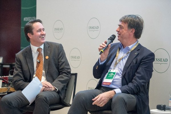 Peter Zemsky (left), INSEAD Deputy Dean and Dean of Innovation, with Andre Hoffmann MBA'90D, Vice Chairman of Roche Holdings, at The Force for Good Conference on 5 October 2018.