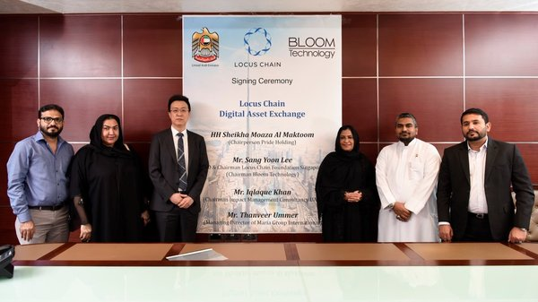 Signing ceremony for the establishment and operation of 'Locus DAX'. Third from the left CEO of Locus Chain Mr. Sang Yoon Lee, Princess of Dubai Sheikha Moaza Obaid Suhail Al Maktoum