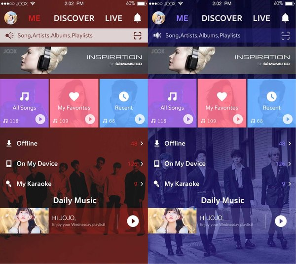 iKON and WINNER-themed user interfaces - JOOX