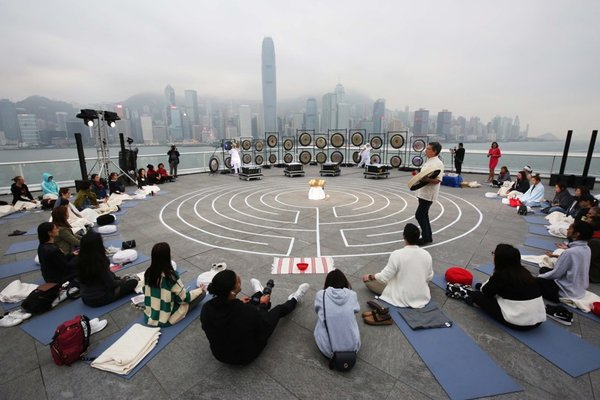 Sound Celebration @ Ocean Terminal Deck, Harbour City features Asia's biggest meditation gong collection over a panoramic view of Hong Kong's iconic skyline.