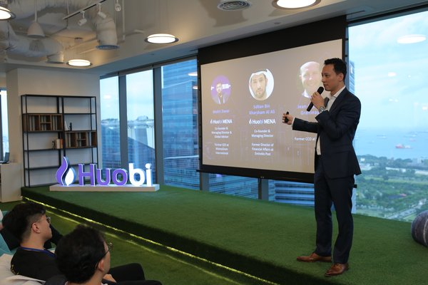 Chris Lee, CFO of Huobi Group, speaks at a Huobi event in Singapore