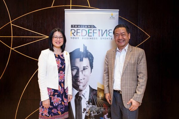 TCEB's Senior Vice President -- Business Mrs. Nichapa Yoswee and EEC Office of Thailand's Dr. Djitt Laowattana (PhD) at today's press conference to announce TCEB -- Business' plan to strengthen automation and robotics sectors under Thai Government's 4.0 initiative.