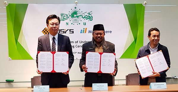 From Left: Jason Ho -- Chairman of Taisys Group, Imam Pituduh -- Chairman of NU Digital Services, Azhan Muhammad -- Director of Mobisphere Inc. completed MOU signing in Taisys Taipei office.