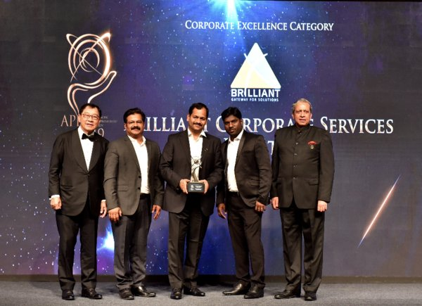 Representatives of Brilliant Corporate Services Private Limited receiving the Asia Pacific Entrepreneurship Awards 2019 India under Corporate Excellence Category
