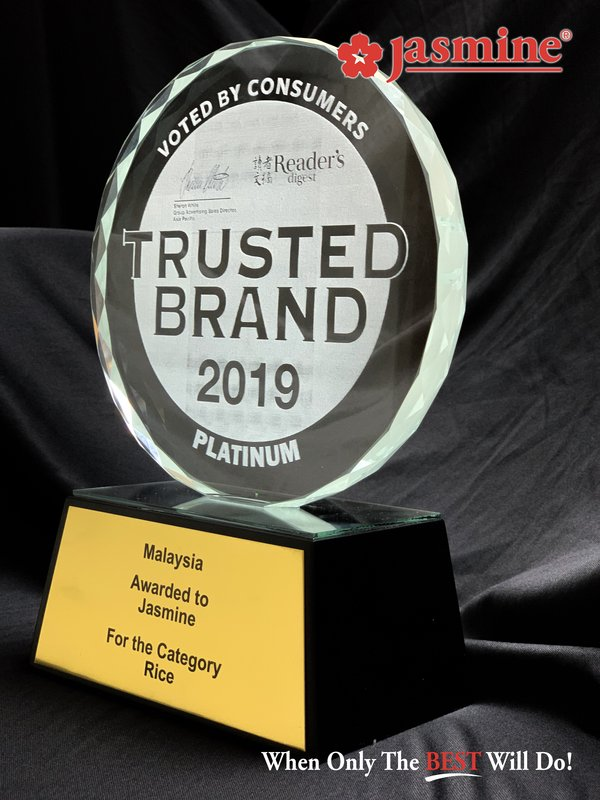 Jasmine Food Wins Malaysia's Reader Digest Most Trusted Brand Award for 15 Consecutive Years