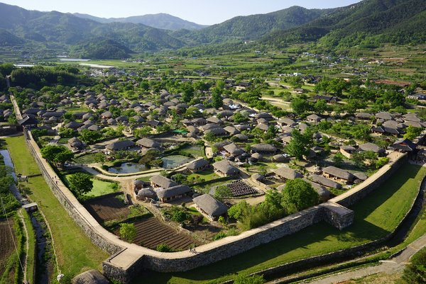 This photo provided by Suncheon City Hall shows Naganeupseong Folk Village.