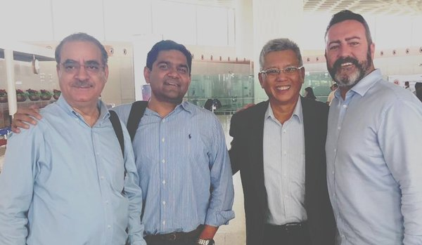 Blue Planet and Smart Creative Technologies team (left to right): Sanjay Jalali, head of operations, Blue Planet Environmental Solutions Pte. Ltd., Prashant Singh, founder and CEO, Blue Planet Environmental Solutions Pte. Ltd., Bradley Chew, Strategic Advisor, Blue Planet Environmental Solutions Pte. Ltd. and Jonathan Quinn, founder of Smart Creative Technologies Ltd.