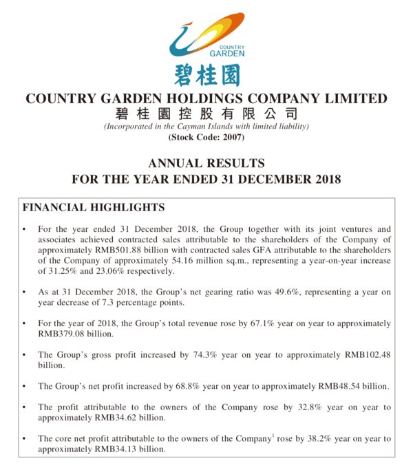 Annual results for the year ended 31 December 2018