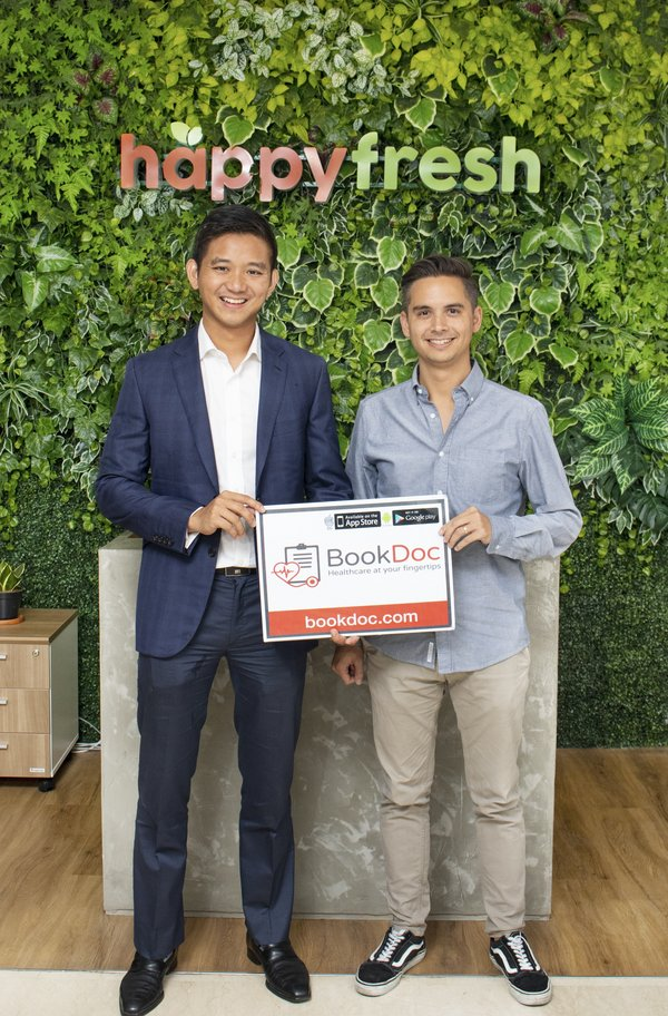(From left) Dato' Chevy, BookDoc CEO and Johan Antlov, HappyFresh Chief Growth Officer