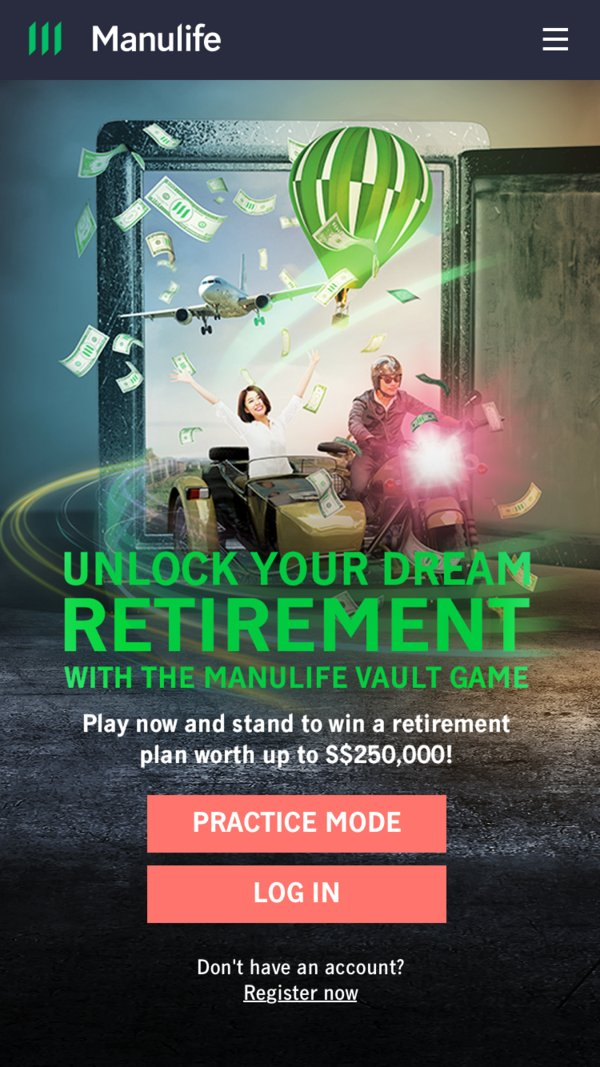 Log in to The Manulife Vault Game on your mobile