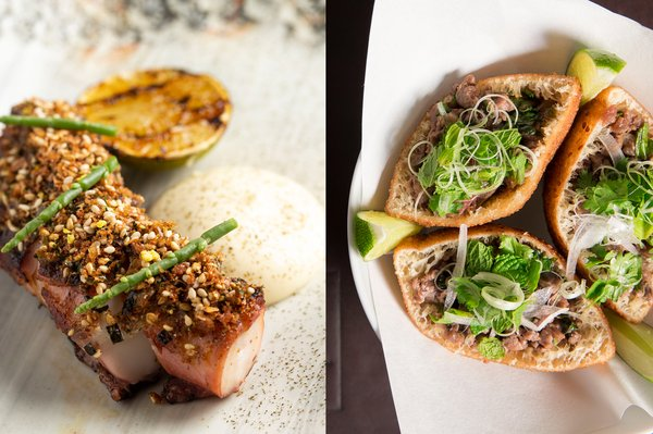 Signature restaurants at Marina Bay Sands roll out over 60 decadent dishes at Epicurean Market (from L to R): Octopus Lardo Lime Aioli Furikake from Spago; Banh Tieu from CUT