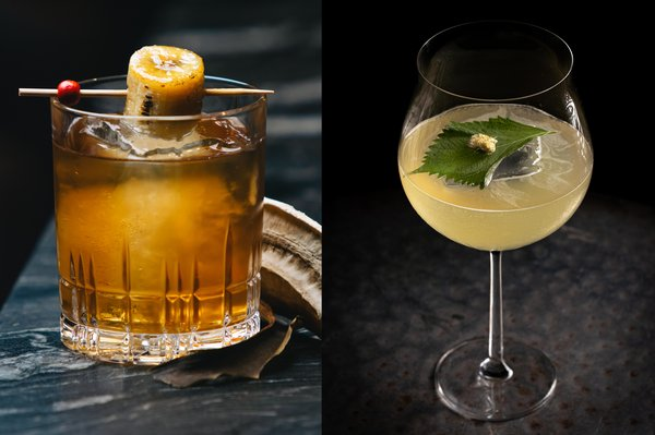 Sip on handcrafted cocktails from The Epicurean Bar (from L to R): AVENUE Lounge's Banana Cue; Mott32's Hanami