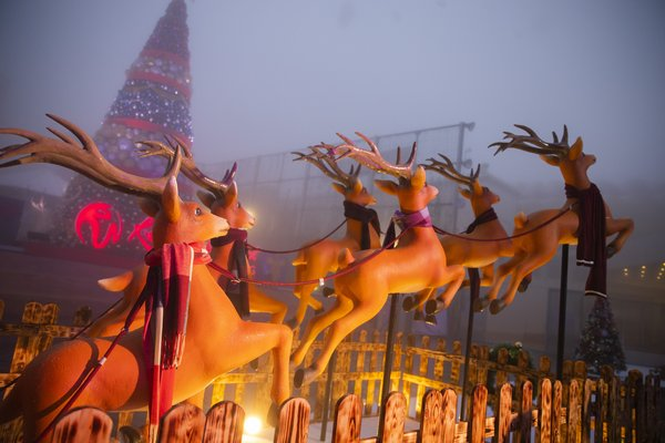Santa Christmas reindeer display at Genting Winter Wonderland