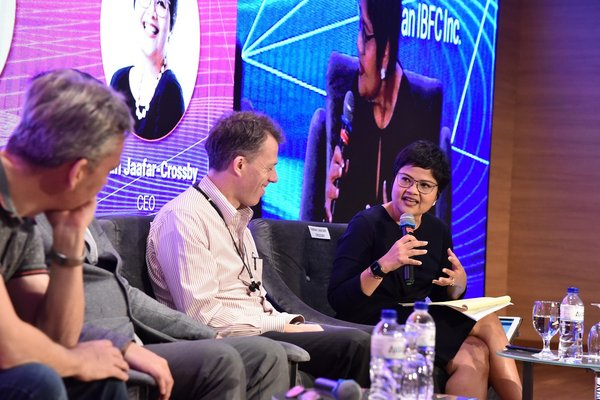 (First from right) Farah Jaafar-Crossby, Labuan IBFC Inc CEO, moderating a panel session at the CoDE Asia 2019 forum today in Kuala Lumpur.