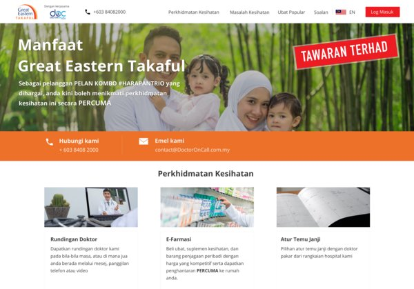 To find out more about DoctorOnCall benefits, Harapan Trio customers can visit www.DoctorOnCall.com.my/greateasterntakaful