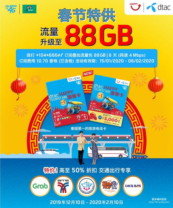 'dtac' goes to the max in welcoming Chinese New Year by upgrading 'dtac Central Happy Tourist SIM' exclusively for Chinese visitors to Thailand to enjoy record 88 GB data