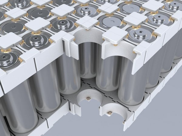 Battery modules with cylindrical cells are constructed with Covestroâ??s Bayblend® material and efficiently assembled with Henkelâ??s Loctite adhesive. (Source: Henkel)