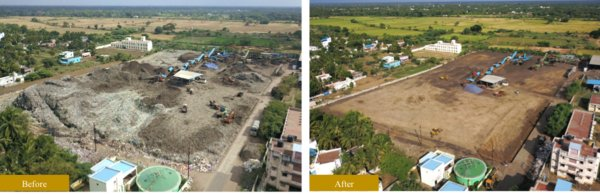 Before and after images of a dumpsite reclamation project undertaken by Zigma in India to clear 15 acres of land from a 20-year-old dumpsite.