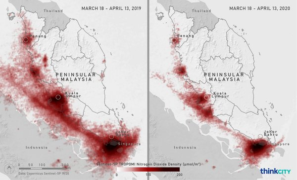 These maps show the nitrogen dioxide (NO2) levels in Peninsular Malaysia during March 18-April 13, 2019 (left) and March 18-April 13, 2020 (right). The maps where produced by Think City from spectrometry data obtained from Copernicus Sentinel-5P European Space Agency satellite.