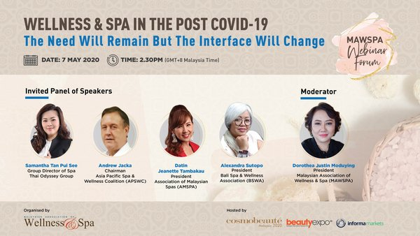 Webinar forum organised by Malaysian Association of Wellness & Spa (MAWSPA) and hosted by Cosmobeauté Malaysia.