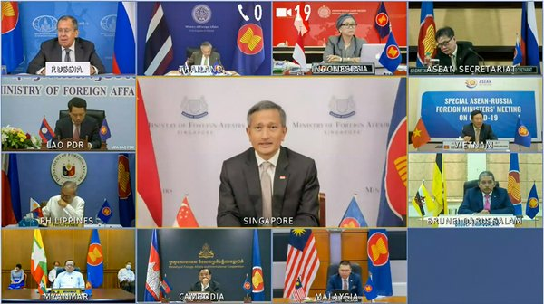 Minister for Foreign Affairs Dr Vivian Balakrishnan at the Videoconference for the Special ASEAN-Russia Foreign Ministers' Meeting on COVID-19 [Photo Credit: Ministry of Foreign Affairs]