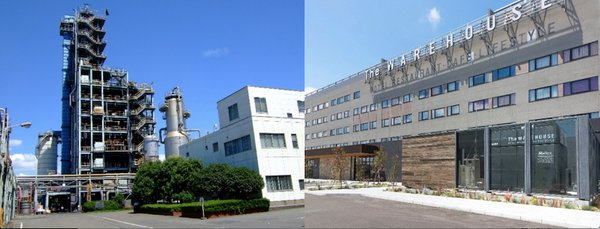 "Left: Plastic recycle plant in Showa Denko Kawasaki Right: The pure hydrogen fuel cell system ""H2Rex(TM)†that was implemented at the Kawasaki King Skyfront Tokyu REI Hotel"