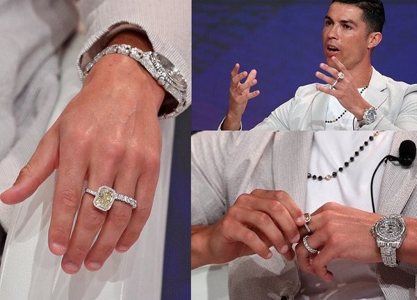 Christiano Ronaldo wearing a yellow diamond ring at one of his interviews