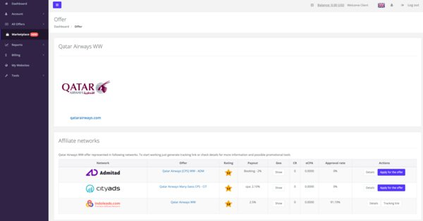 An example of Indoleads' affiliate marketplace features