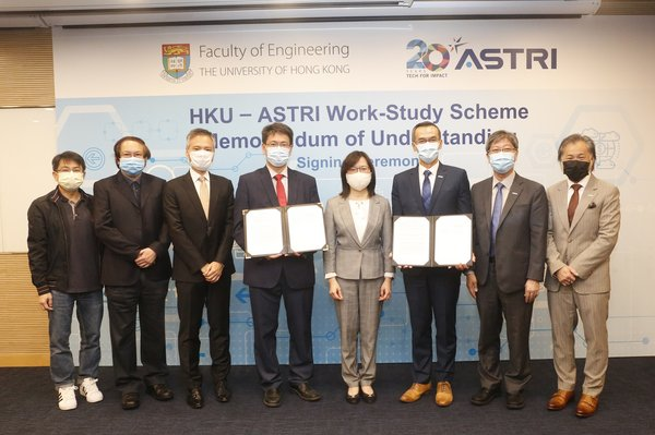 (From Left) Professor Mr S M Yiu, Dr KP Chow, Professor T W Lam and Professor Christopher Chao of The University of Hong Kong, the Commissioner of Innovation and Technology Ms Rebecca Pun, JP, and ASTRI's CEO Mr Hugh Chow, CTO Dr Lucas Hui and COO Dr Martin Szeto at the signing of the Work-Study Scheme agreement.