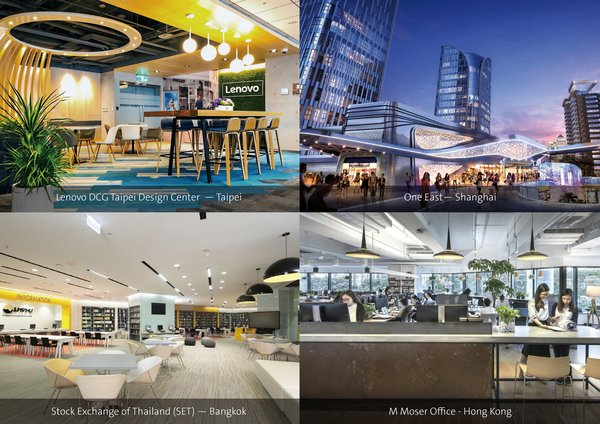 (From top left, clockwise): Lenovo DCG Taipei Design Center - Taipei, One East - Shanghai, M Moser Office - Hong Kong, and Stock Exchange of Thailand (SET) - Bangkok