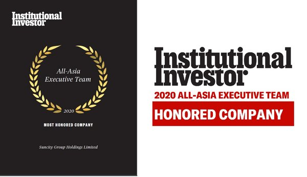 "Suncity Group Holdings Limited Recognized as ""Honored Company"" by Institutional Investor, All-Asia Executive Team 2020"