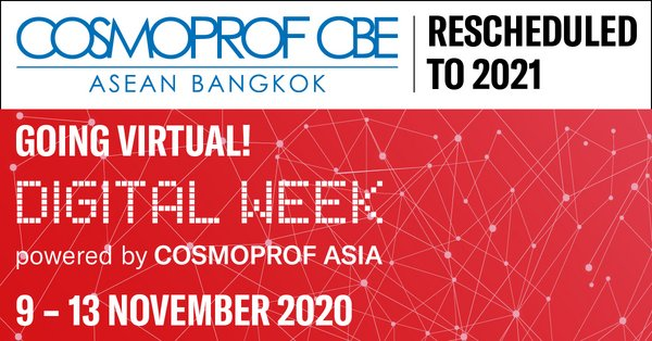 Cosmoprof CBE ASEAN joins Cosmoprof Asia Digital Week: Physical event rescheduled to September 2021