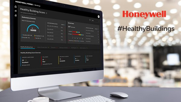 The Honeywell #HealthyBuildings Score comprises key building health metrics in a simplified view on a dashboard. It provides real-time alerts to building owners and operators so they can quickly address non-compliance issues or deal with infection-related incidents.