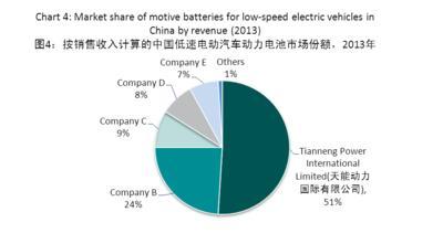 图4:按销售收入计算的中国低速电动汽车动力电池市场份额,2013年