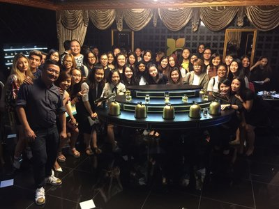 Students from Raffles College's Fashion, Marketing and Merchandising course, at Fragrance Du Bois' luxurious boutique.