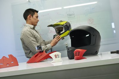 Motorcycle helmet prototypes produced on the F370 3D Printer at the Center for Advanced Design being tested for design validation