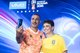 Former Dutch International Balon d'or winner Ruud Gullit and FIFA World Cup 1994 Winner Bebeto take a selfie with the FIFA World Cup 2018 V9 Blue Limited Edition