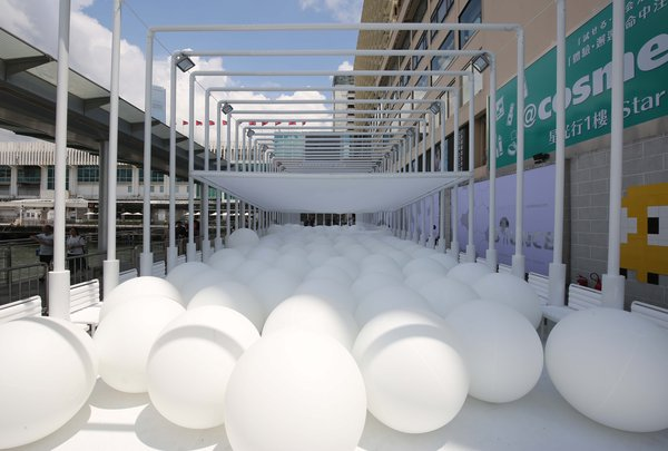 Harbour City's newest art installation, Bounce, designed by New York base firm Snarkitecture.