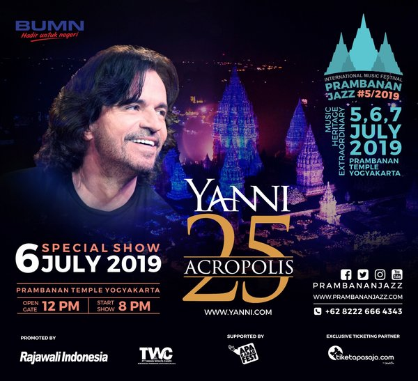 World's top musicians will perform at Prambanan Jazz Festival 2019, from 5-7 July 2019 at Prambanan Temple, Yogyakarta, Indonesia.