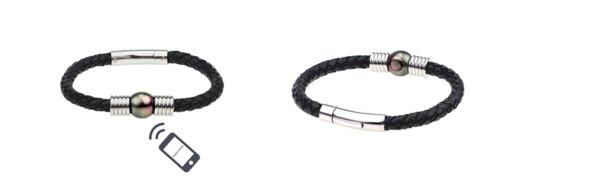 天星珍珠的「Memotime Pearl」手鍊。除了皮繩,該系列亦備有魔鬼魚皮繩以供選擇。